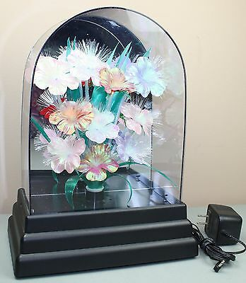 Vintage Fiber Optic Color Change Flowers Floral Lamp Display Taiwan Arch Top
