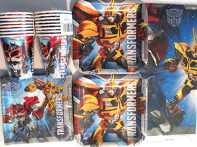 TRANSFORMERS - Birthday Party Supply Kit Pack Set for 16 w/ Balloons