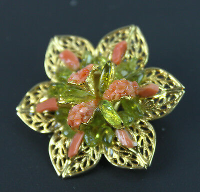 """Vintage Pink Coral Stone & Green Glass Pin Brooch 1 1/2"""" Wide Gold Tone Metal"""