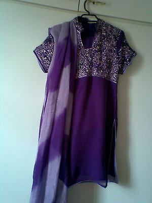 Ladies Gorgeous Purple Shalwar Kameez, Beads Work Good Condition ,bargain