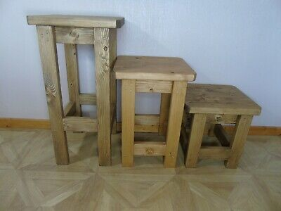 Rustic Handmade Wooden Bar Stool- Many Colours