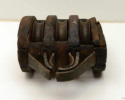 Antique  Block & Tackle Wood Iron Pulley Nautical