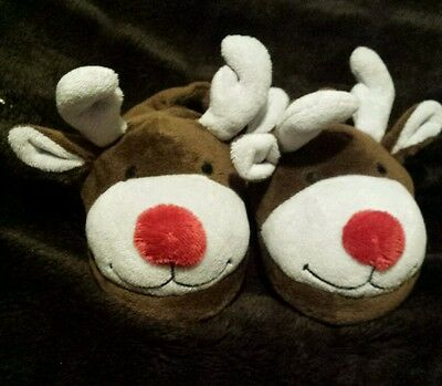 Reindeer Santa Boys Girls Novelty Christmas Soft Mule Slippers Size 6 Childrens
