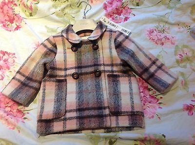 Next signature baby girls plaid  coat BNWT 6-9 months