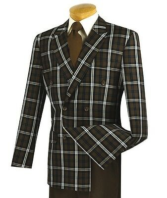 Men's Brown Windowpane Double Breasted 6 Button Classic-Fit Suit NEW