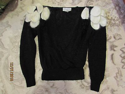 Vintage NANNELL Hand Knit Angora Wool Blend Black White SWEATER Size Small