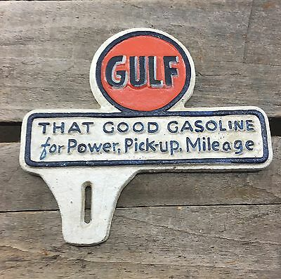 CAST IRON GULF LICENSE PLATE TOPPER Coin SIGN CAN OIL GAS PUMP Good Gasoline