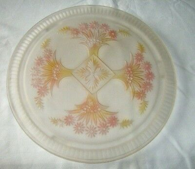 Collectible Frosted Glass Footed Cake Plate with Bouquet Pattern