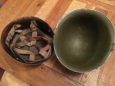 Vintage French M51 Military Army Combat Helmet And Liner 1952