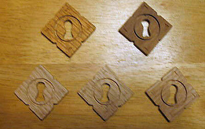 Key Hole Escutcheon Covers - 4 Oak & 1 Walnut for Furniture Drawers & Doors