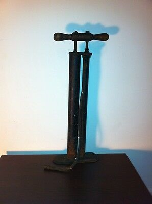 RARE DOUBLE PUMP DESIGN Vintage Air Pump w Wood Handle   Antique Old