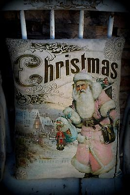 Shabby pink Santa Claus Christmas pillow Belsnickle Victorian antique sign chic