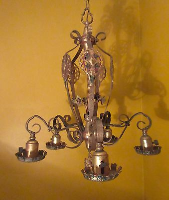 antique ornate cold painted 5 arm gilt bronze electric chandelier fixture brass