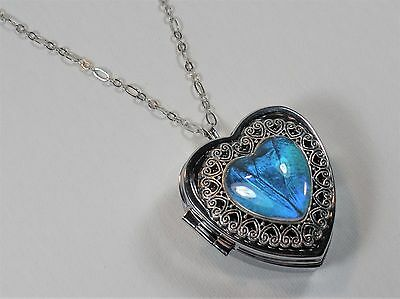 Blue Morpho Butterfly Wing Music Box Locket Heart Shaped Pendant Necklace