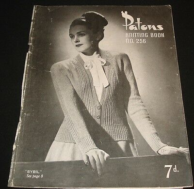 VINTAGE PATONS 1940s / 1950s KNITTING BOOK #256 WOMENS TOPS CARDIGANS DRESS