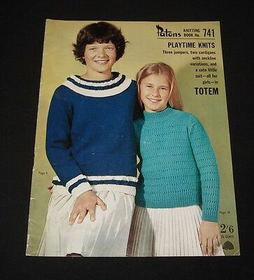 VINTAGE 1960s PATONS KNITTING BOOK #741 Girls Cardigans jumpers etc