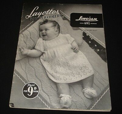 VINTAGE LINCOLN 1930s / 40s  KNITTING BOOK #691 BABIES LAYETTES