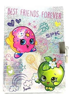 """Shopkins """"BEST FRIENDS FOREVER"""" Metallic Diary With Lock/Notebook/Journals"""