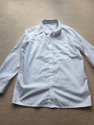 Boys White Long Sleeved School Shirt, Aged 13-14 Years, Good Condition