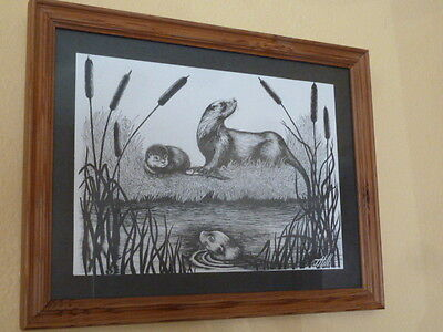 "10155) Framed print behind glass J Hill otters at the riverbank 12.25"" x 15.75"""