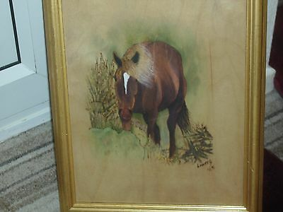 A Beautiful Portrait Of A Horse Painted On Wood By The Artist Lowery