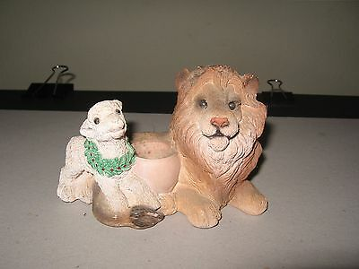 Vintage Stone Carving Of Lion And The Lamb Candle Holder