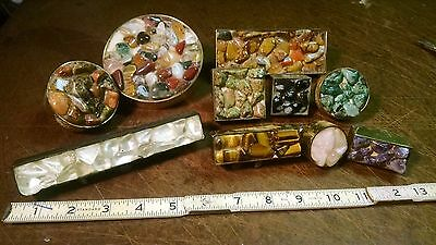 vintage semi gem stone drawer pull 10-lot assorted sizes and stones