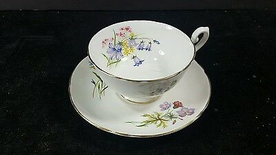 """SHELLEY """"WILD FLOWERS"""" China CUP and SAUCER White Gold Trim floral England"""