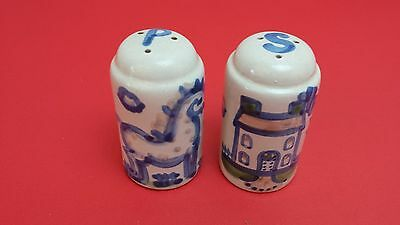 M A Hadley Stoneware Pottery House and Horse Salt and Pepper Shakers