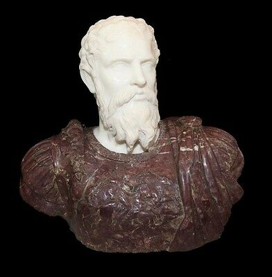 Important Carved carrara Marble Bust of a Roman Emperor early 20th century