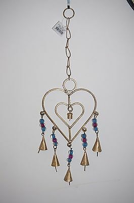 Heart Iron Rustic wind chime Chime garden decor hanging beads bell love gift