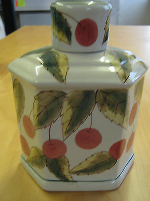 Handpainted Oriental Ceramic Hexagonal Shaped Caddy - Cherries And Leaves Design