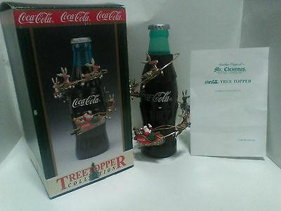 Coca Cola Tree Topper Collection 1999 Rotating Santa & Reindeer Very Rare