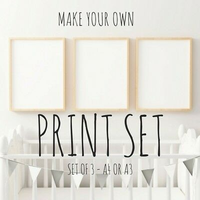 Nursery Prints, Baby Boys, Girls, Kids Bedroom Wall Art Decor Print Set of 3