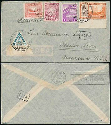 BOLIVIA POSTAGE DUE TRIANGULAR USED in COMBINATION 1945 FEB to ARGENTINA