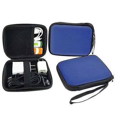 2.5 Inches Hard Drive HDD Case Navy Pouches USB Cable GPS Carrying Bags & Straps