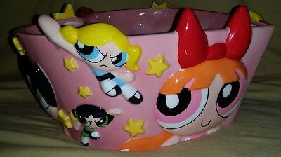 VINTAGE Warner Brothers Store POWERPUFF GIRLS Heart Shaped CANDY Snack BOWL