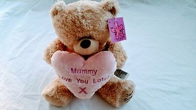 Pink Teddy Bear Mummy I love you Mums gift with heart