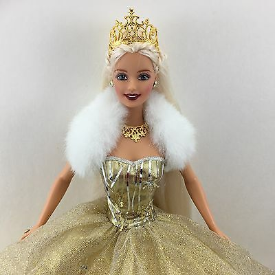 HOLIDAY BARBIE -- 2000 Special Ed. Celebration Doll in Gold Dress Tiara Shoes