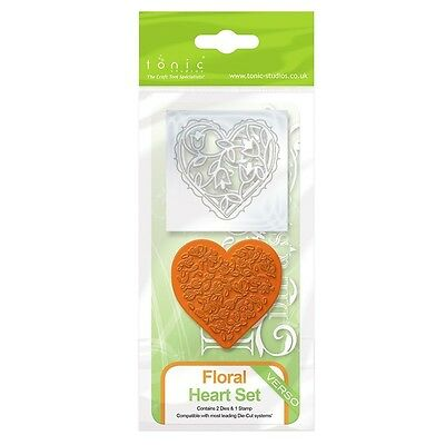 Tonic Studios Floral Heart Rococo Die & Stamp Set 1045E