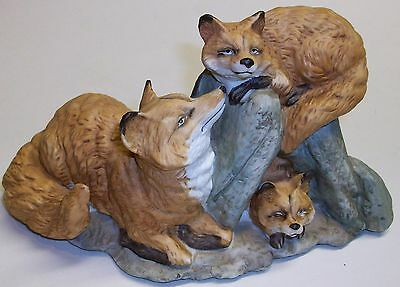 Vintage Porcelain Fox Family Figurine Made In Taiwan