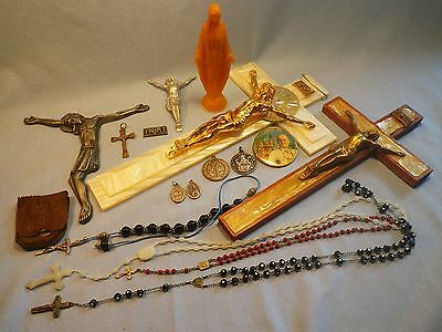 Catholic Christian Collectables Lot Crucifixes, Rosaries, Medals, Statuette and