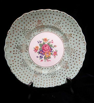 Colclough Bone China Plate - Mint Green with Gold Overlay - 9.25 in. - England