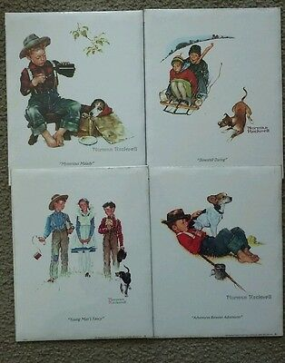 Vintage Norman Rockwell Embossed Prints Christmas Collectible Cards