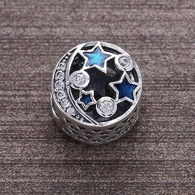 Pandora Sterling Silver S925Ale Stars & Moon Blue Bead Charm New