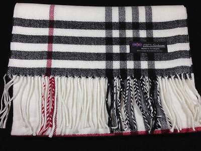 New 100% Cashmere Scarf Soft 72X12 White Red Scotland Wool Check Plaid Wrap C50