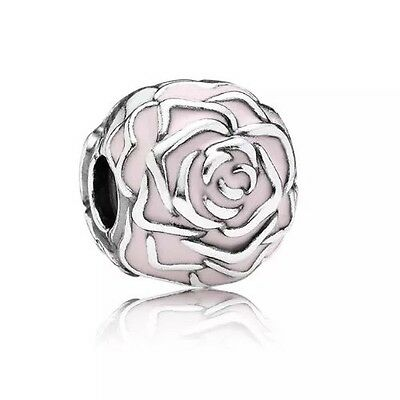 Silver S925 Ale Pink Rose Garden Clip Charm Bead New