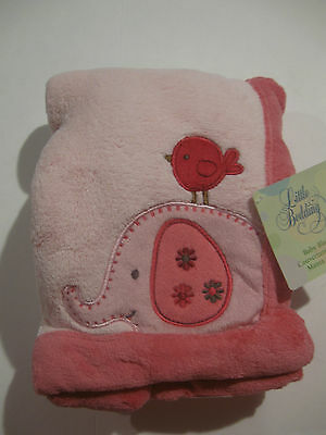 NEW Little Bedding By NoJo Elephant Baby Girl super soft Blanket Pink NWT
