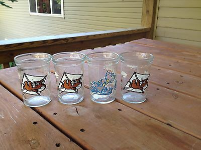 4 Collectible Tom & Jerry Welch's Juice Glasses Vintage cartoon
