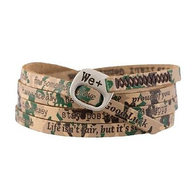 WE POSITIVE Leather Bracelet Printed 210 - green camouflage